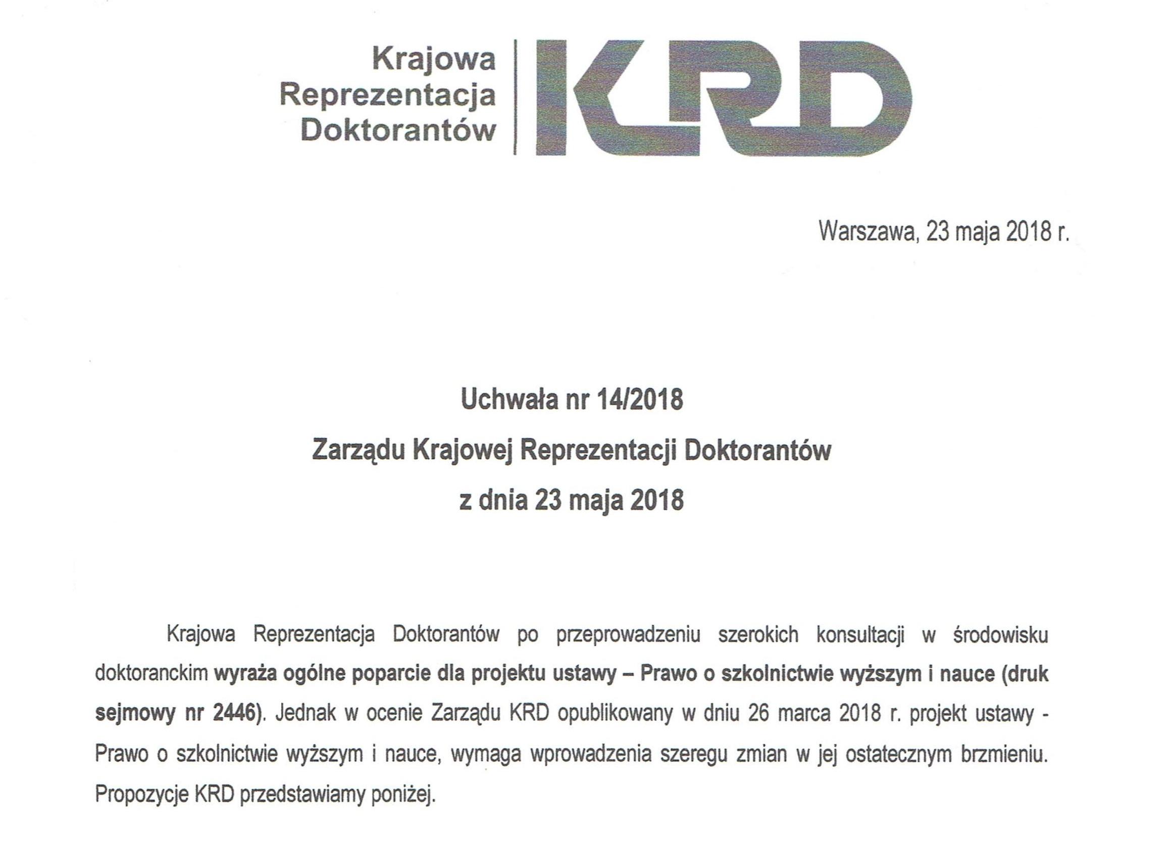 Uchwała KRD nr 14/2018 – proponowane zmiany – poprawki do ustawy 2.0