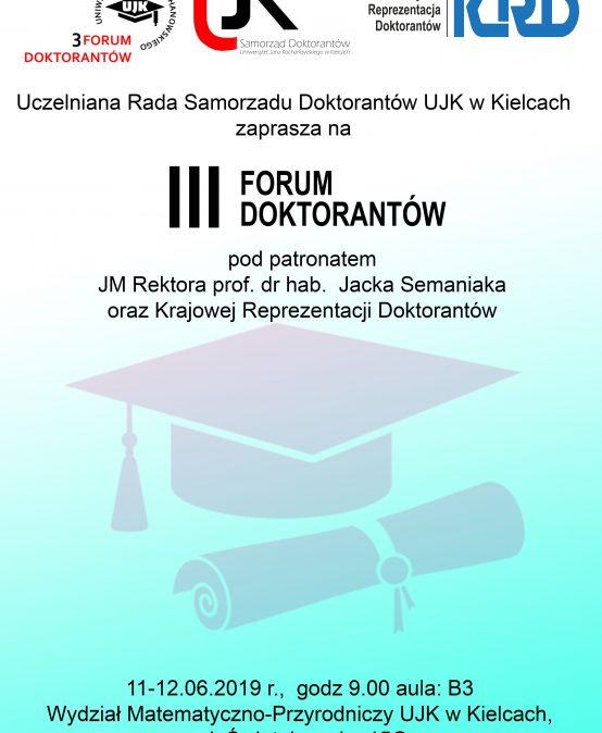 III Forum Doktorantów UJK w Kielcach – 11-12.06.2019